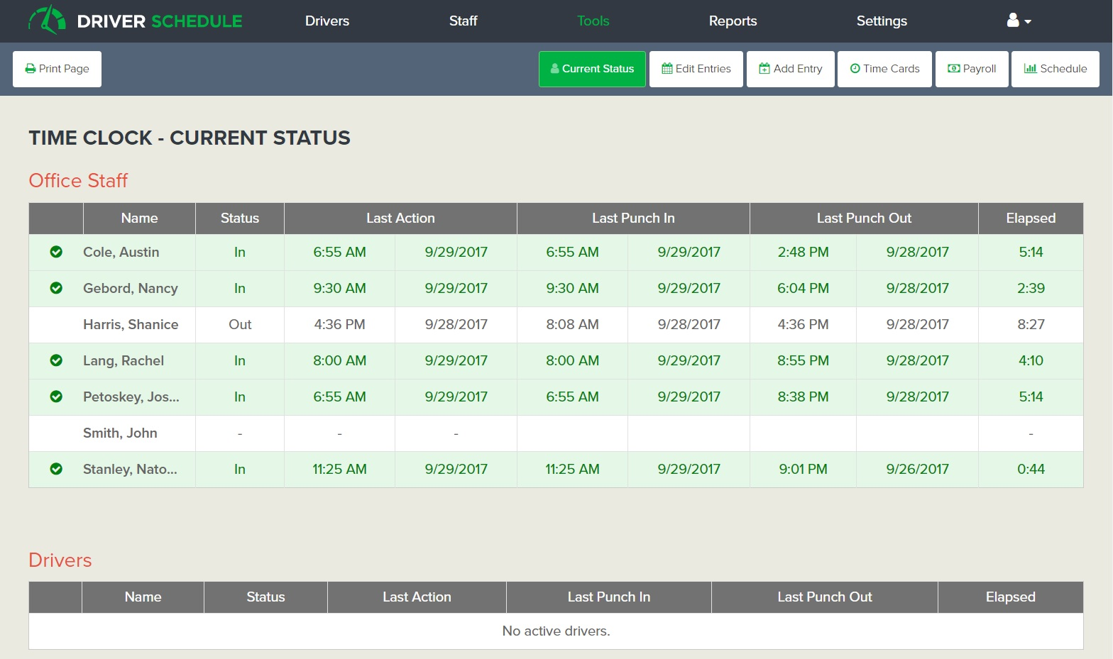 employee time tracking payroll software for ground transportation